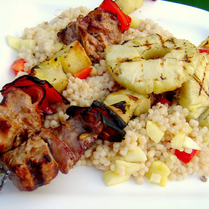 Gingered Pork, Pineapple and Pepper Skewers