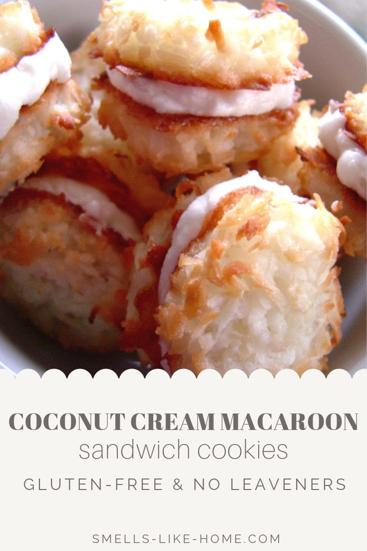 Coconut Cream Macaroon Sandwich Cookies: A sweet and delicious gluten-free sandwich cookie with toasted coconut and a punchy coconut cream filling. #coconut #cookie #macaroon #sandwichcookie #glutenfree #gf #jewishholidays #passover #hanukkah #toastedcoconut #creamfilled #coconutcream #homemade