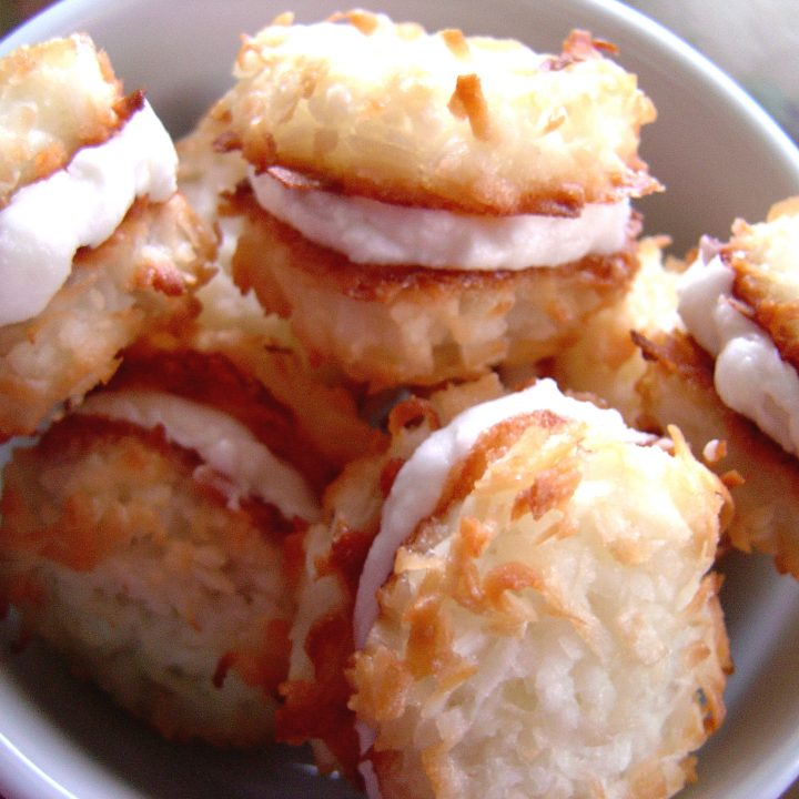 Coconut Cream Macaroon Sandwich Cookies