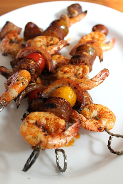 Grilled Shrimp & Sausage Skewers with Smoky Paprika Glaze ...