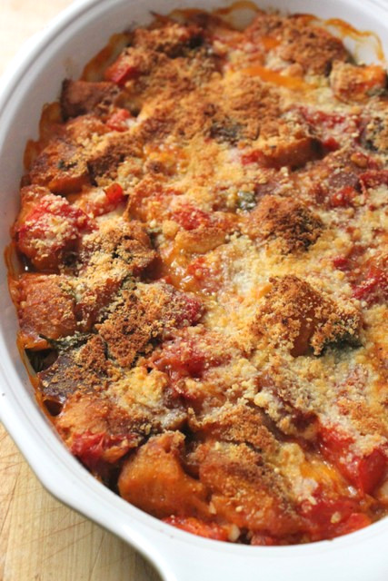 Summer Scalloped Tomatoes with Croutons