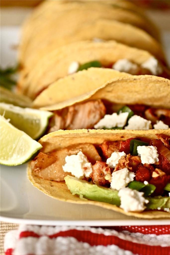 Smoky Pork Tinga Tacos with Avocado and Queso Fresco