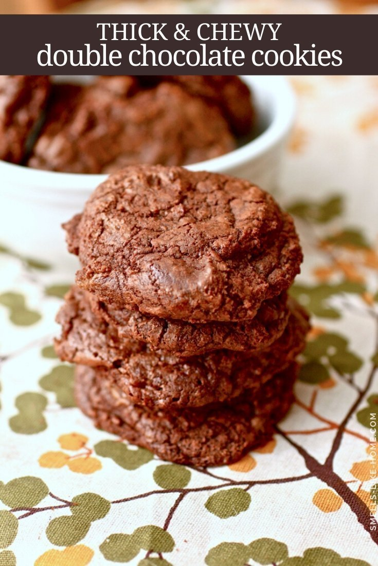 Thick & Chewy Double Chocolate Cookies - These fudgy, brownie-like cookies are JAM PACKED with chocolatey goodness! They're thick and chewy and downright irresistible! #chocolate #cookies #christmas #chewy #browniecookies