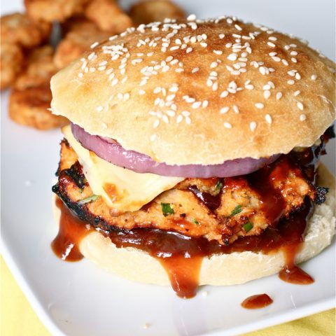 Grilled BBQ Chicken Burgers with Easy Homemade BBQ Sauce