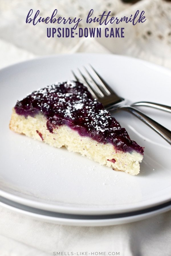 Blueberry Buttermilk Upside-Down Cake: This is, hands down, the perfect blueberry cake! With a layer of jammy blueberries atop a soft and tender white cake, this cake couldn't be easier to make! #summer #cake #homemade #dessert #blueberry #upsidedowncake #buttermilk #whitecake #nakedcake #blueberryjam #fromscratch