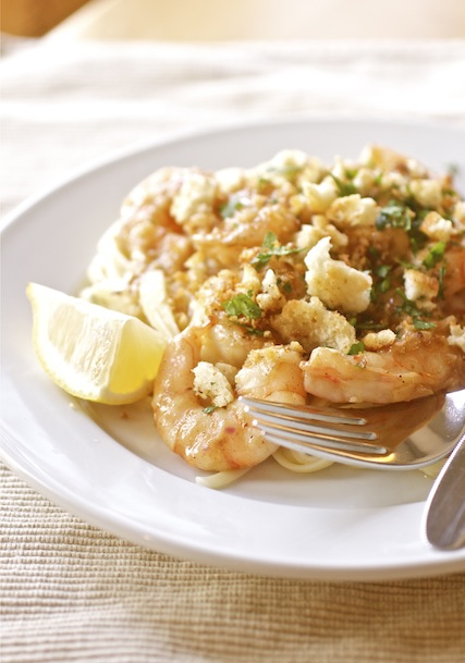 Garlicky Shrimp with Buttered Crumbs