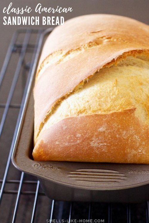 Homemade White Bread: This is an outrageously easy and delicious classic American sandwich bread that's perfect for your peanut butter and jelly, turkey and swiss, or favorite grilled cheese sandwiches. Make it in the morning and eat your sandwiches on fresh bread for lunch! #whitebread #sandwichbread #american #bread #sandwich #bestbreadforsandwiches #bestbreadforgrilledcheese #grilledcheese #homemade #fromscratch