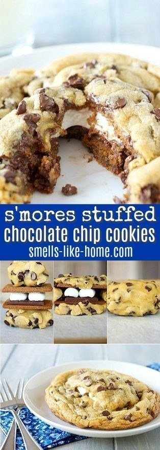 Giant S'mores Stuffed Chocolate Chip Cookies - You know you want them! This recipe has been Pinned over 100,000 times!
