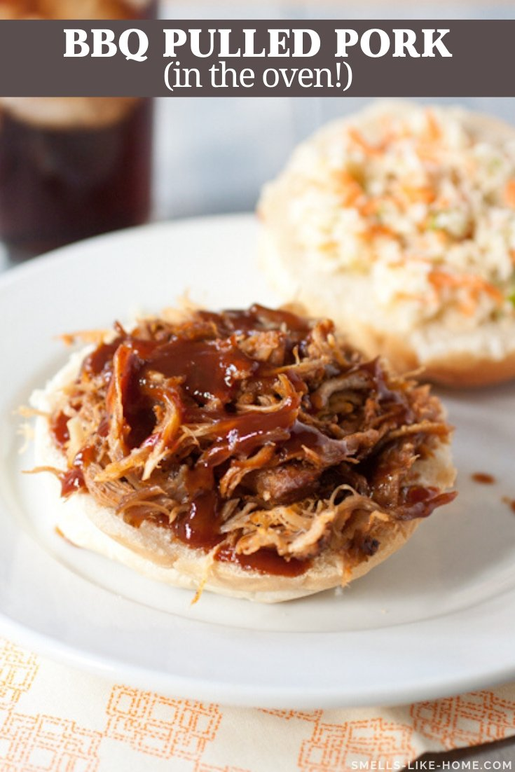 BBQ Pulled Pork Sandwiches: Forget the crockpot for pulled pork! Roast your spice-rubbed pulled pork low and slow for a few hours and top it with a TO DIE FOR homemade BBQ sauce on your sandwiches! #pulledpork #pulledporksandwiches #pulledporkrecipe #pulledporkoven #pulledporknocrockpot