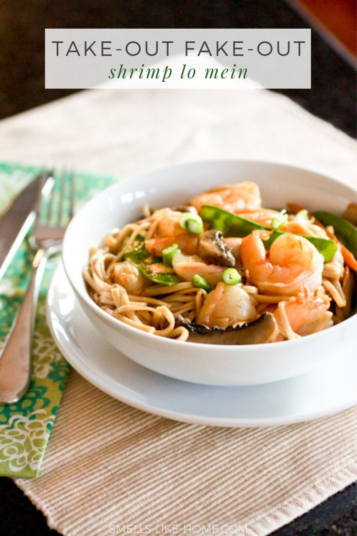 Take Out Fake Out Shrimp Lo Mein: Skip the take out and make this quick and authentic Chinese dish at home! Simple ingredients and made in under 20 minutes! #lomein #shrimp #takeout #fakeout #weeknight #mealplan #meatless #vegetarian #mushroom #noodles #homemade #chinese