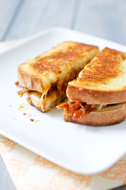 bbq pulled pork grilled cheese sandwiches 2