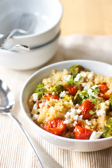 Quinoa Salad with Roasted Tomatoes, Broccoli, and Feta