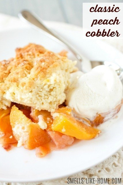 Peach cobbler - A gorgeous and super simple summer peach cobbler is just a few minutes away from hitting your belly! And no peeling peaches!! #peach #cobber #fruit #crisp #summer #dessert #baking #pie #potluck #church #bbq #party #martha #fresh