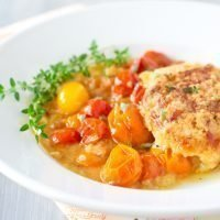 Tomato Cobbler Recipe with Gruyere Thyme Biscuits