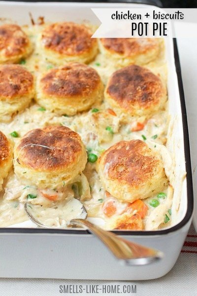 Chicken and Biscuits Pot Pie- Chicken and biscuits pot pie? Biscuits atop your pot pie? Why yes. Yes indeed! Make them from scratch or use canned biscuits. It doesn't matter – it's just a genius way to up your pot pie game! #fall #potpie #chicken #biscuits #autumn #comfortfood #comfort #autumn #winter #homemade #flaky #flakey #buttery