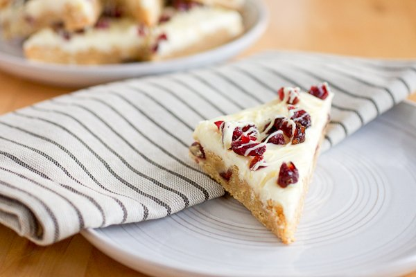 Starbucks Cranberry Bliss Bars copycat recipe stack of bars on a plate.