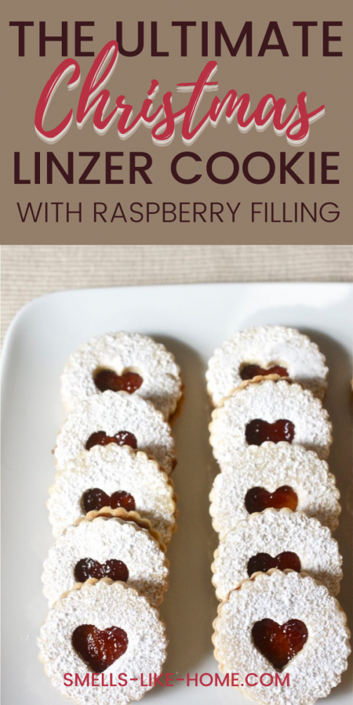 Pinnable image of the ultimate Christmas cookie: Linzer Cookies with raspberry jam!