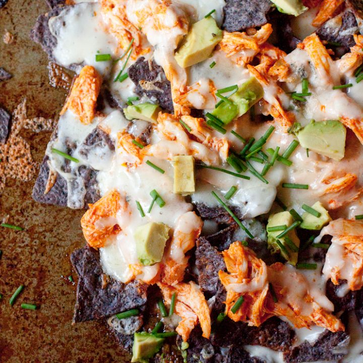 Layered Buffalo Chicken Nachos with Creamy Gorgonzola Cheese Sauce