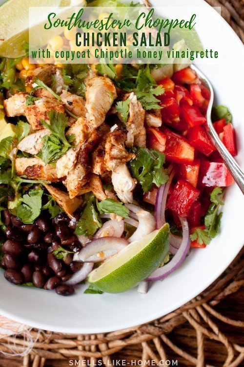 Southwest Chicken Chopped Salad with Chipotle Honey Dressing- This southwest chicken chopped salad is packed full of healthy veggies and beans and is topped with a copycat version of Chipotle's honey vinaigrette. #grilled #summer #southwest #choppedsalad #chipotle #honeydressing #salad #chicken #copycat #honeyvinaigrette #spicy #honey