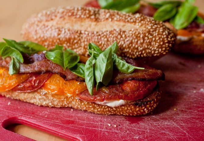 Roasted Tomato, Whipped Herb Feta, and Bacon Sandwiches