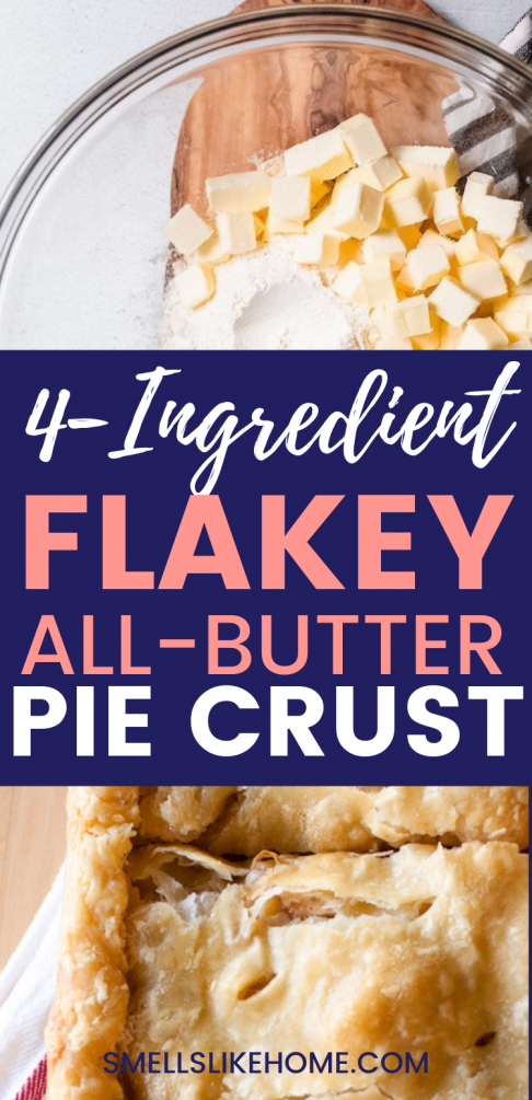 Pinnable image for All Butter Really Flakey Pie Dough Recipe