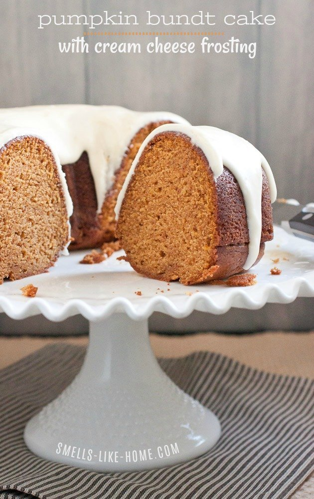 "Pumpkin bundt cake with cream cheese frosting is a super easy recipe to make without a box mix. It's in the oven in under 20 minutes and ""leaves"" you plenty of time for all of your fun fall activities! #pumpkincake #pumpkinbundtcake #pumpkincakerecipe #fallbakingrecipe #pumpkinpiespice"