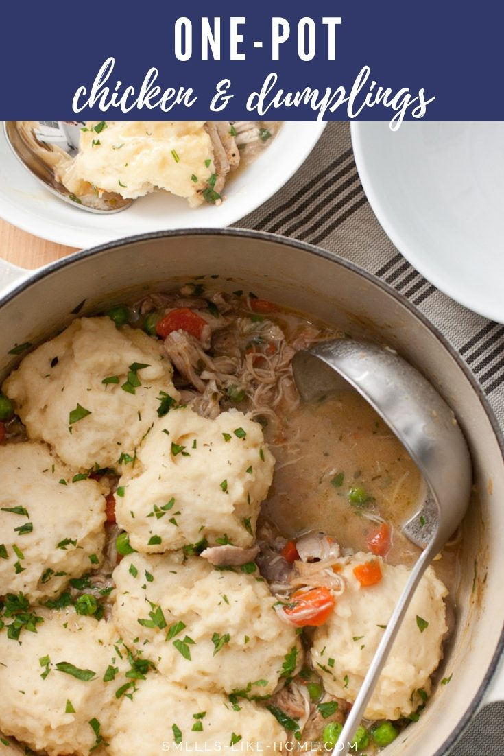 Classic Chicken and Dumplings: A hearty white chicken one-pot stew topped with fresh and fluffy melt-in-your-mouth dumplings. Winter food doesn't get any better than this right here! #classic #chicken #dumpling #chickenstew #whitechickenstew #weekendmeal #cozy #winter #southern #southerncomfortfood #hearty #comfortfood #warm #homemade #recipe #onepot #easy #stew