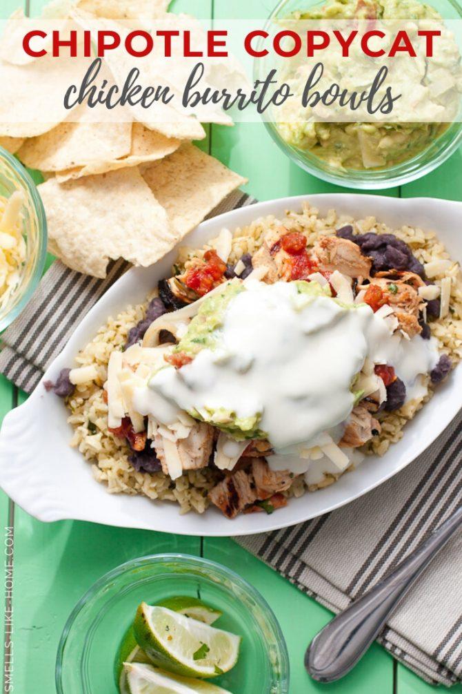 Chipotle Copycat Grilled Chicken Fajita Burrito Bowls