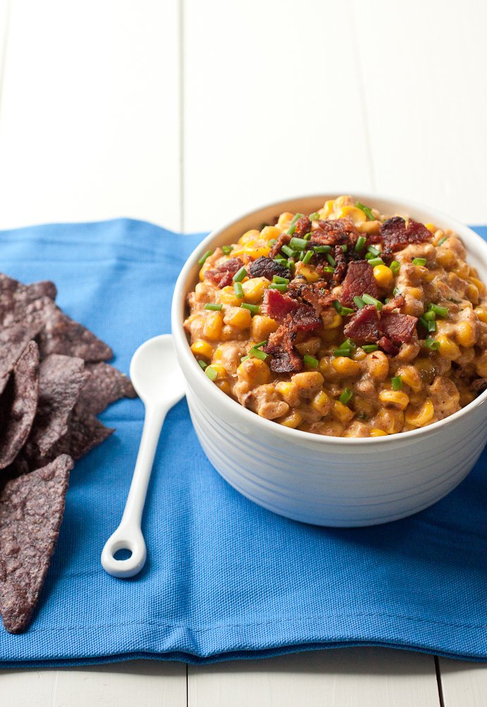 Hot Corn Dip with Bacon and Jalapeños is a Mexican corn dip made in the crock pot.