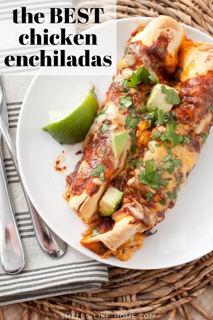 The BEST Chicken Enchiladas Ever!! Filled with Tex-Mex flavored chicken, black beans, and cheese, these easy chicken enchiladas are smothered with red enchilada sauce and more cheese before they're baked to melted cheese perfection. Always a HUGE family favorite meal!!