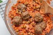 Carrot Salad with Tahini Dressing, Crisped Chickpeas and Sesame-Spiced Baked Turkey Meatballs