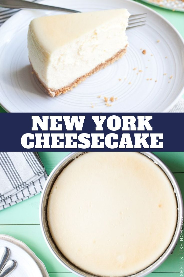 Classic New York Cheesecake: This is THE BEST cheesecake you'll ever eat! Creamy, delicious, and easy to make too! #cheesecake #newyorkcheesecake #nycheesecake #thanksgivingdessert #cheesecakefactory