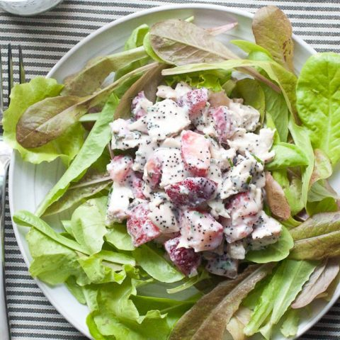 Strawberry Poppy Seed Chicken Salad served over baby lettuce.