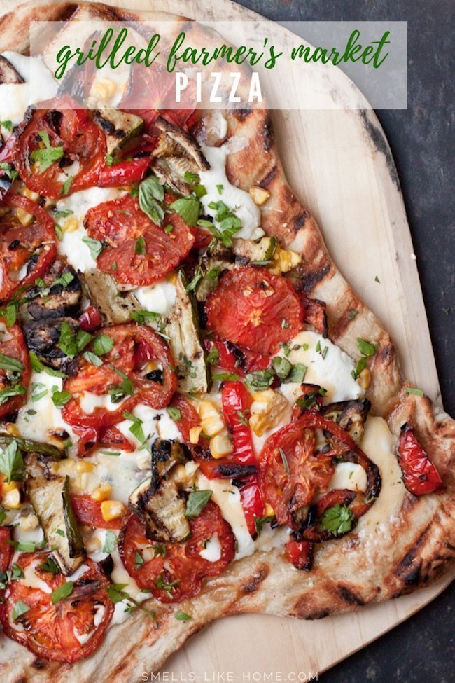 Grilled Farmer's Market Pizza: A gourmet grilled pizza made with leftover vegetables and cheese from the fridge. This is the BEST way to clean out your fridge. Zero waste FTW! #grilled #pizza #vegetable #meatless #vegetarian #farmersmarket #csa #corn #tomatoes #zucchini #ricotta