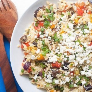 Roasted Vegetable Feta Orzo Salad