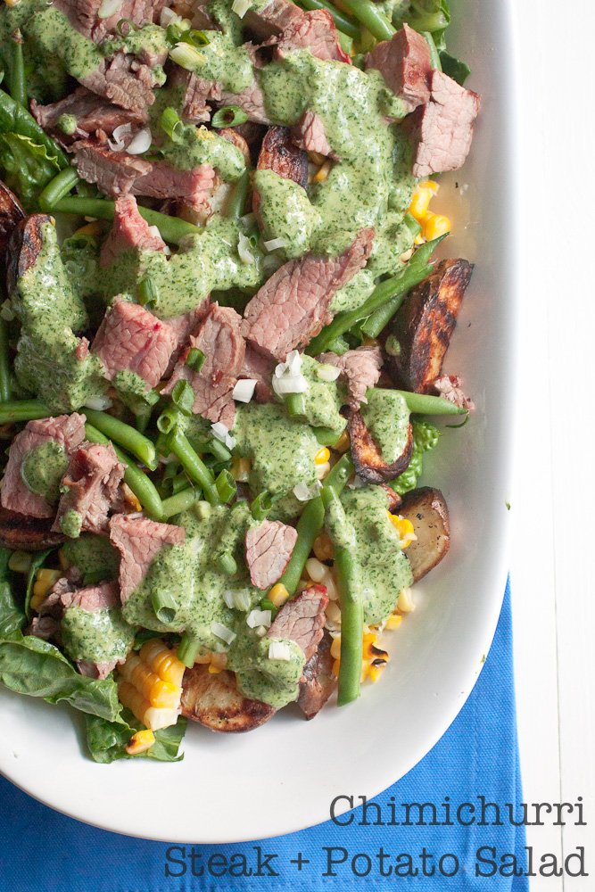 Chimichurri Steak and Potato Salad with corn and fresh string beans.
