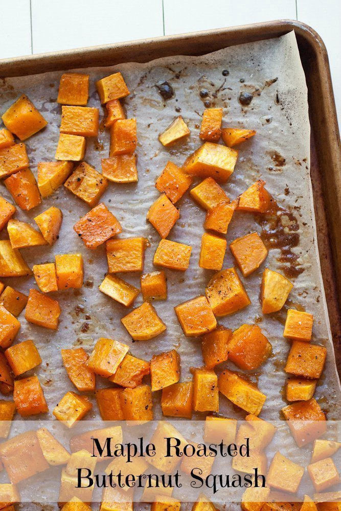 Maple Roasted Butternut Squash: The syrup helps to caramelize the squash, thus turning this maple roasted butternut squash into the best thing that ever happened to the best salad ever. #maple #butternutsquash #squash #fall #sidedish #roasted #oven #salad #risotto #mixin #addin #topping #vegan #vegetarian #meatless