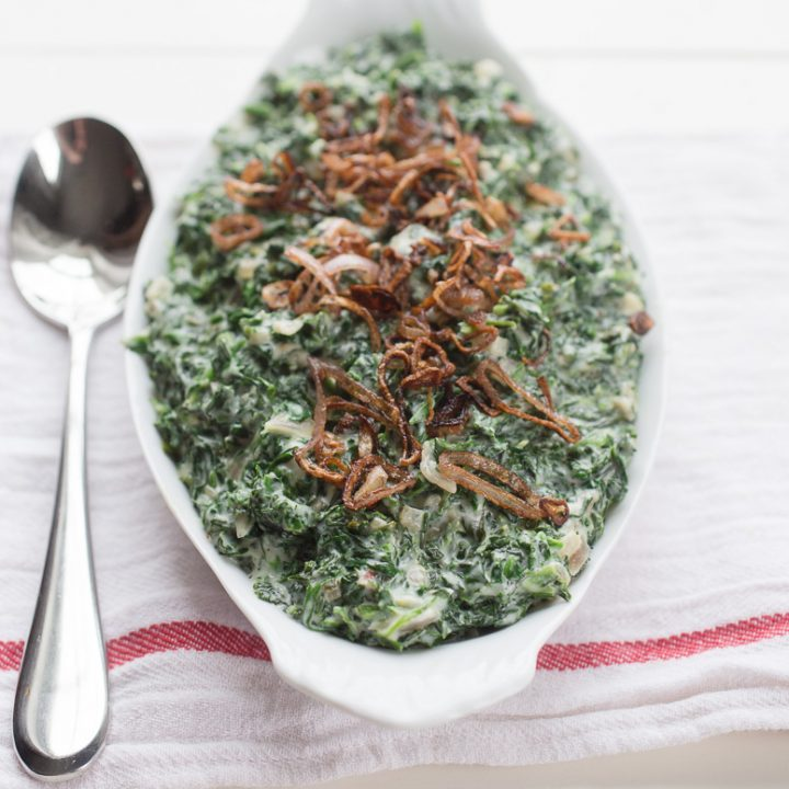 Creamed Spinach with Crispy Shallots