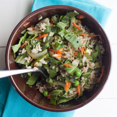 Bok Choy Brown Rice Salad with Orange Sesame Dressing