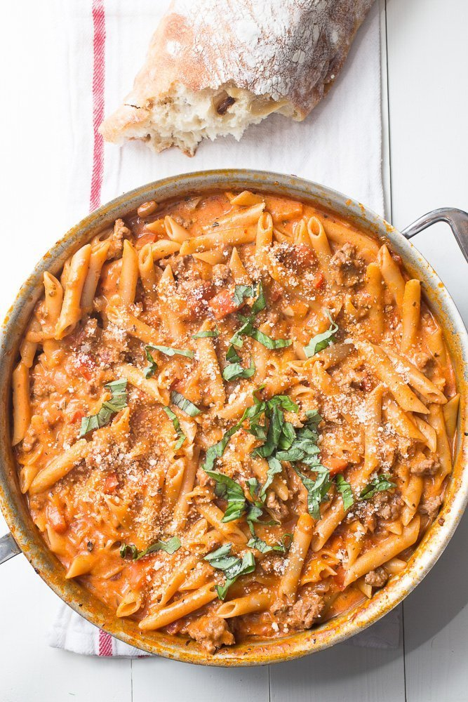 One Pot Creamy Sausage Pasta