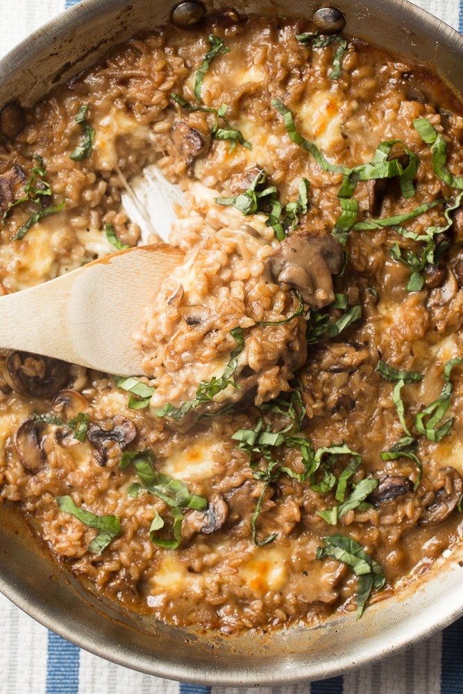 Mushrooms, farro, marsala wine, and mozzarella cheese combine into this meatless dinner of Mushroom Marsala Farro Bake.