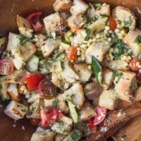 Grilled Sweet Corn and Zucchini Panzanella Salad with Fresh Herb Vinaigrette