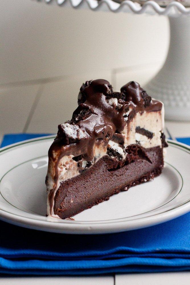 Slice of Peanut Butter Oreo Ice Cream Cake