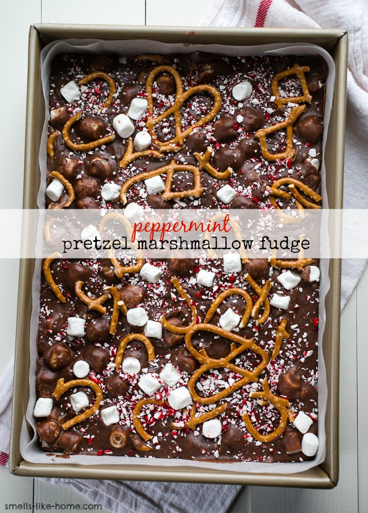 Pinnable image of Peppermint Marshmallow Fudge.