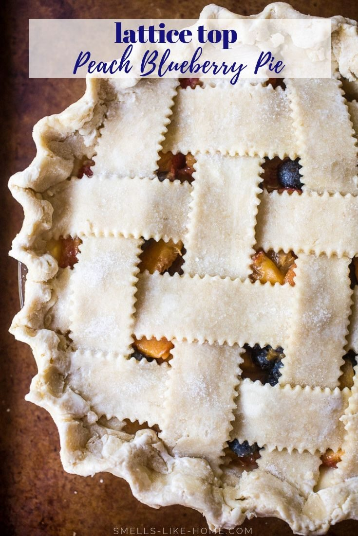 This peach blueberry pie is a summer stunner of a recipe! With an easy homemade pie dough, gorgeous lattice crust, juicy sliced peaches, and fresh blueberries, you can't go wrong. #peachpie #peachblueberrypie #latticecrust #easy #homemadepiedough
