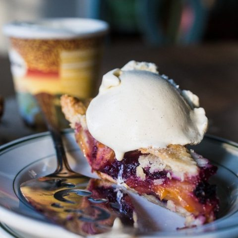 Peach Blueberry Pie with Lattice Crust