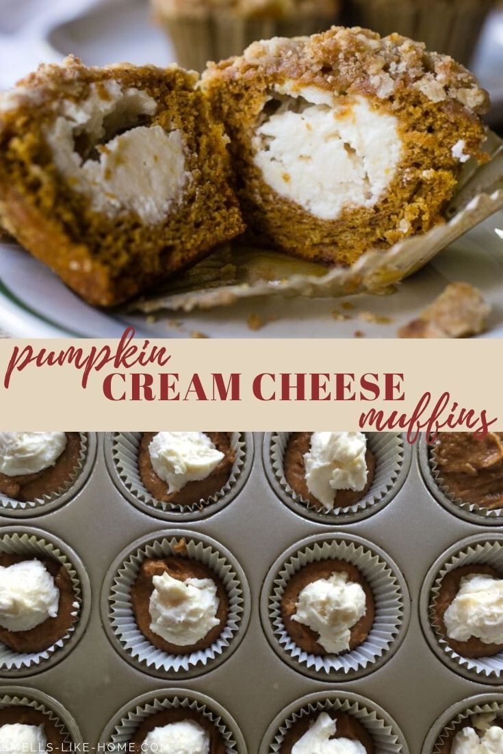 Pumpkin Cream Cheese Muffins with Streusel: The fall muffin of your dreams! You've not lived until you've eaten a pumpkin muffin stuffed with cheesecake filling. #pumpkincreamcheesemuffin #pumpkinmuffin #streuseltopping #fallbaking #starbuckspumpkinmuffin