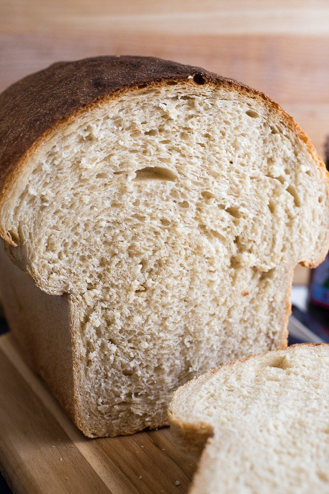 Internal view of a loaf of Whole Wheat Sandwich Bread.