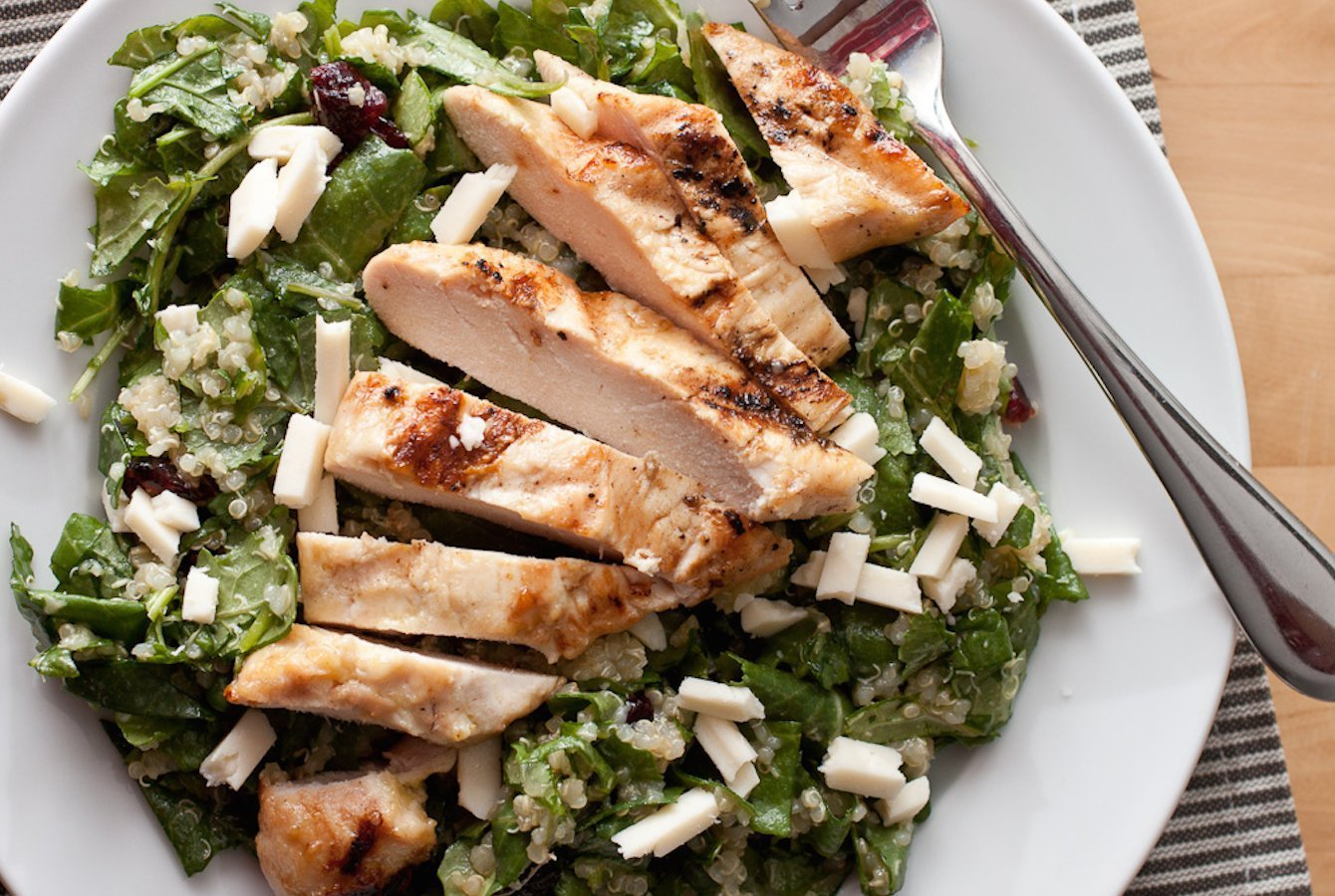 Kale and Quinoa Salad with Maple Dijon Grilled Chicken