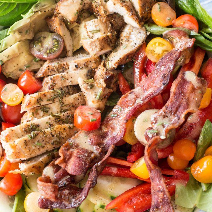 Rosemary Chicken Bacon Avocado Salad with Rosemary Vinaigrette